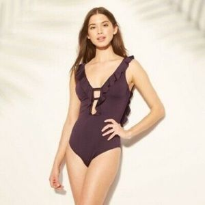 Shade & shore plum ruffle one piece swim suit SM